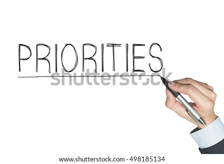 priorities written by hand, hand writing on transparent board, photo