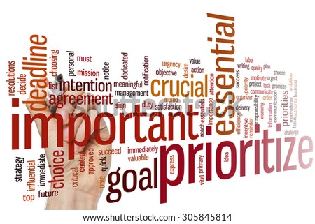 Prioritize concept word cloud background - stock photo