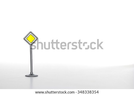 Priority road sign against white - stock photo