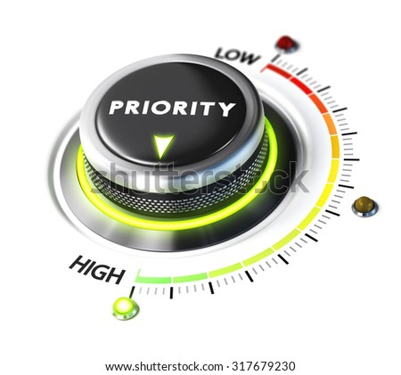Priority switch button positioned on highest level, white background and green light. Conceptual image for illustration of setting priorities and time management. - stock photo