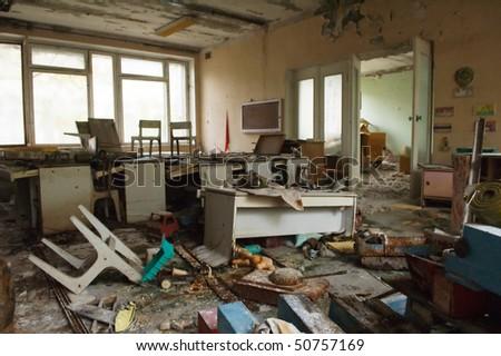 Pripyat. Abandoned kindergarten, 20 years after the Chernobyl accident. Pripyat. 2006 - stock photo