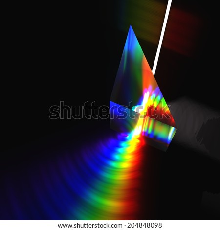 Prism and Light beam - stock photo