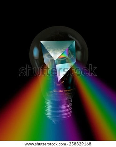 Prism and light rays - stock photo