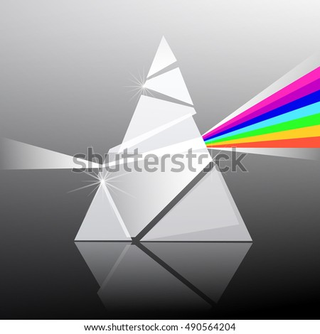 Prism Illustration. Triangle Transparent Glass Shape with Colorful Rainbow Effect.