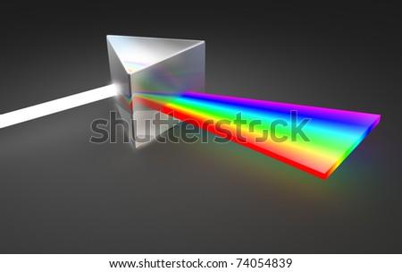 Prism light spectrum dispersion. On dark background - stock photo