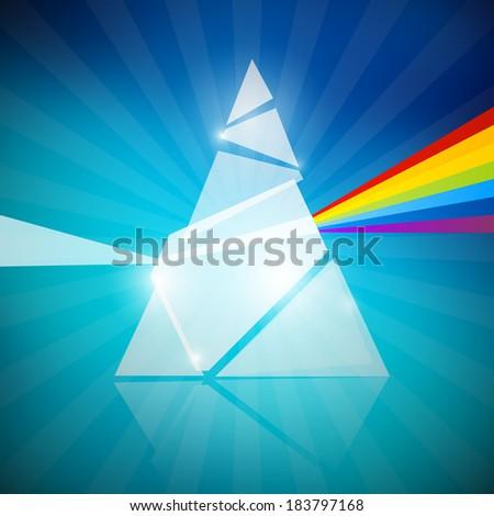 Prism Spectrum Illustration on Blue Background - stock photo