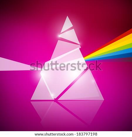 Prism Spectrum Illustration on Pink Background - stock photo