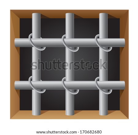 prison bar illustration isolated on white background - stock photo