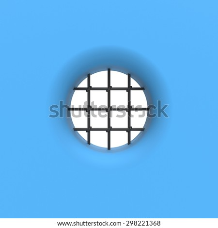 Prison cell window with grill - stock photo