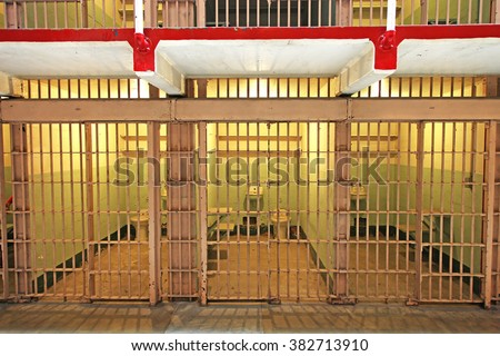 Prison cells at night - stock photo