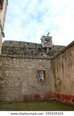 Prison courtyard.(Historical Sinop Prison). Sinop,TURKEY - stock photo