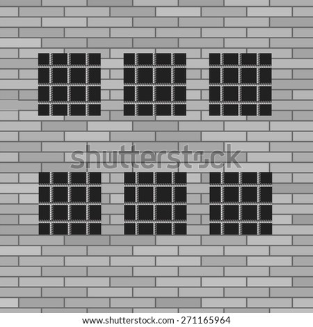 Prison Grey Brick Wall with Windows. Jail Wall. - stock photo