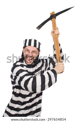 Prison inmate with axe isolated on white - stock photo