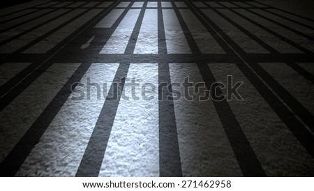 Prison Interior with Jail Bars closing. - stock photo