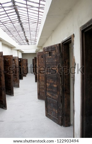 Prison rooms in the concentration camp in Terezin - stock photo