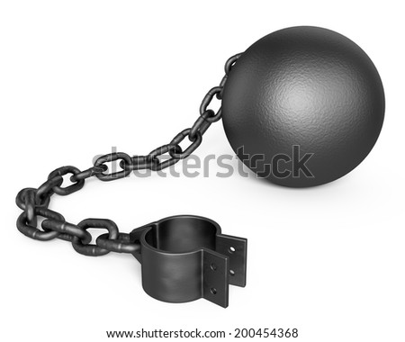 Prison Shackle isolated on white - stock photo