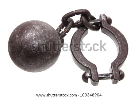Prison Shackle on White Background - stock photo
