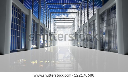 Prison tunnel through the sky - stock photo