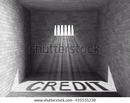 Prison with light and Credit Shadow through a barred window. 3d Rendering - stock photo