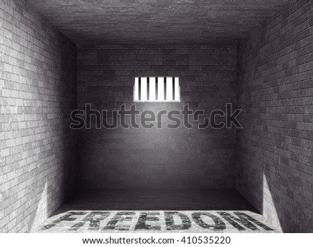 Prison with light and Freedom Shadow through a barred window. 3d Rendering - stock photo