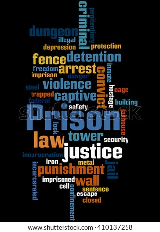 Prison, word cloud concept on black background.