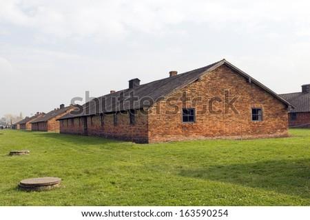 prisoner barracks at Birkenau-Auschwitz Nazi concentration camp Poland - stock photo