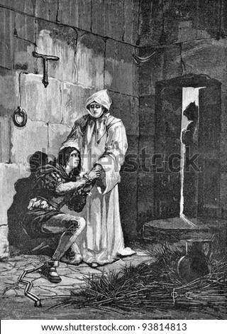 "Prisoner in a dungeon. Engraving by Olszewski from picture by painter Solomko. Published in magazine ""Niva"", publishing house A.F. Marx, St. Petersburg, Russia, 1893"