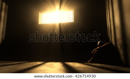 Prisoner in Bad Condition in Demolished Solitary Confinement under Lightrays 3D Illustration - stock photo