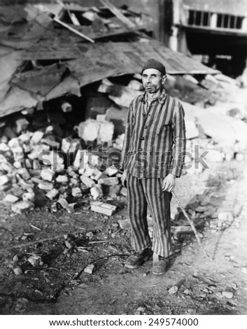 Prisoner in German slave labor camp at Nordhausen, at time of liberation by U.S. Army. April 1945, Germany, World War 2.