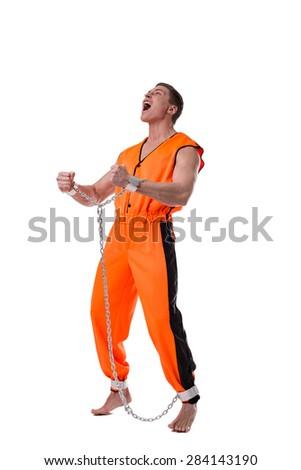 Prisoner screams in despair. Concept of arrest - stock photo