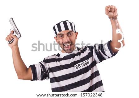 Prisoner with gun isolated on white - stock photo