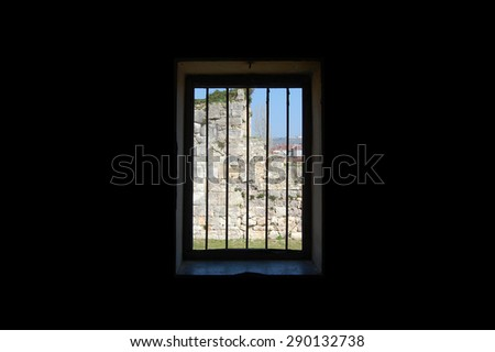 Prisoners window (Historical Sinop Prison). Sinop,TURKEY - stock photo