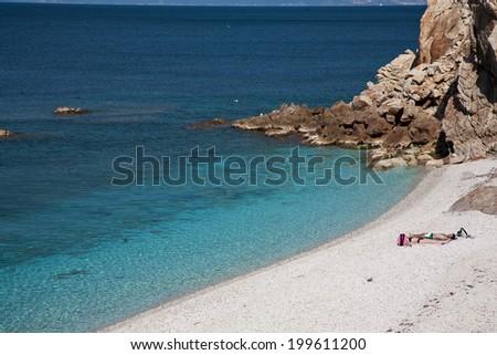 pristine beach and crystal clear sea, Elba Island - stock photo