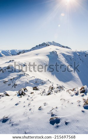 pristine mountains covered by fresh snow