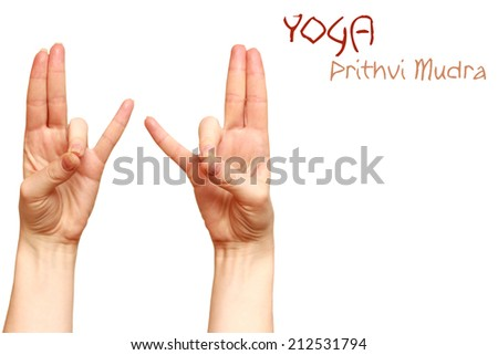 prithvi mudra yoga gesture women hands isolated background