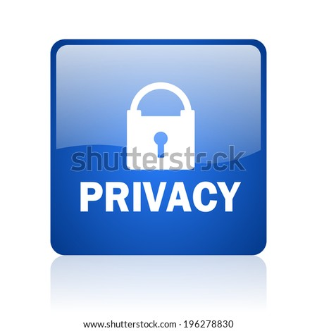 privacy blue computer icon on white background