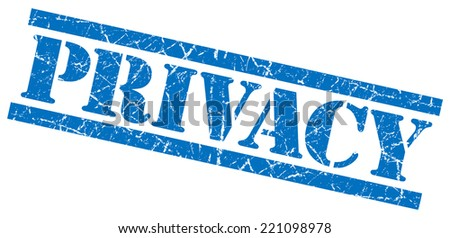 privacy blue grunge stamp isolated on white - stock photo