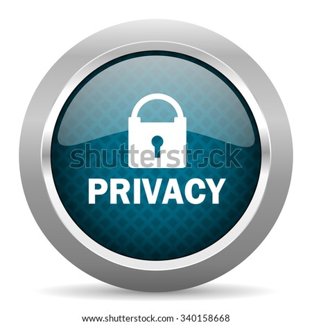 privacy blue silver chrome border icon on white background