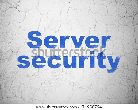 Privacy concept: Blue Server Security on textured concrete wall background, 3d render