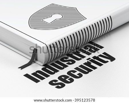 Privacy concept: book Shield With Keyhole, Industrial Security on white background