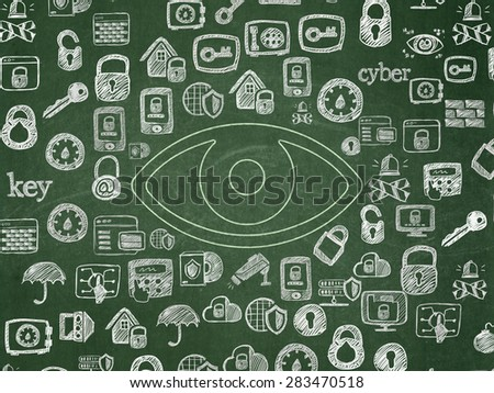 Privacy concept: Chalk Green Eye icon on School Board background with  Hand Drawn Security Icons, 3d render - stock photo