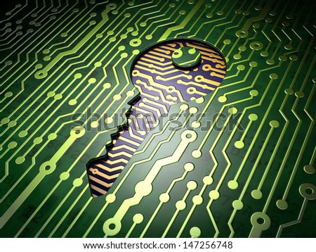 Privacy concept: circuit board with Key icon, 3d render - stock photo