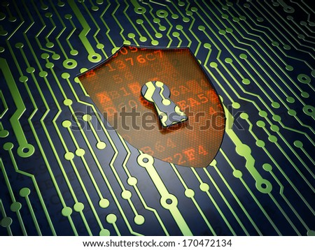 Privacy concept: circuit board with Shield With Keyhole icon, 3d render