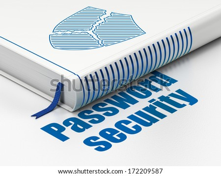 Privacy concept: closed book with Blue Broken Shield icon and text Password Security on floor, white background, 3d render