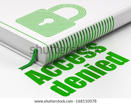 Privacy concept: closed book with Green Closed Padlock icon and text Access Denied on floor, white background, 3d render - stock photo
