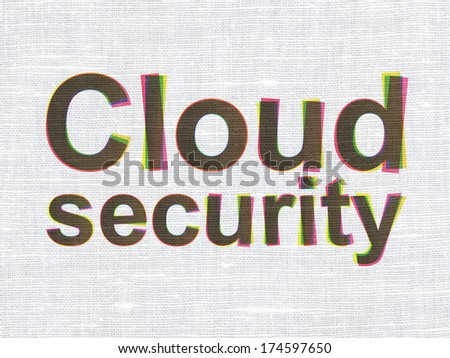 Privacy concept: CMYK Cloud Security on linen fabric texture background, 3d render