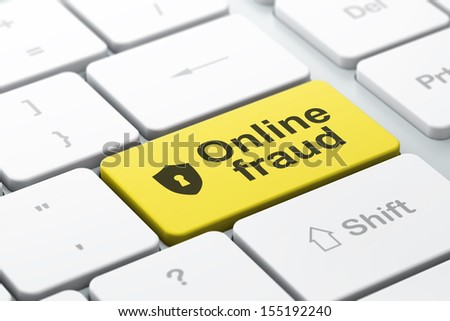 Privacy concept: computer keyboard with Shield With Keyhole icon and word Online Fraud, selected focus on enter button, 3d render - stock photo