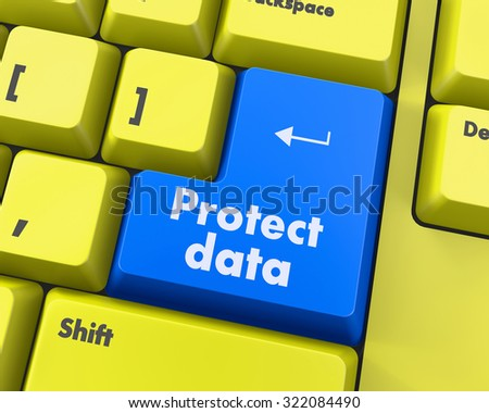 Privacy concept: computer keyboard with word Data Protection on enter button background, 3d render - stock photo
