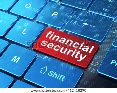 Privacy concept: computer keyboard with word Financial Security on enter button background, 3D rendering