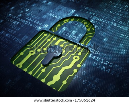 Privacy concept: digital screen with icon Closed Padlock, 3d render - stock photo